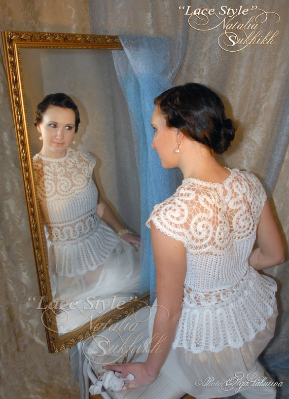 The bruges lace tunic exclusive handmade crochet by nataliasukhikh, $600.00