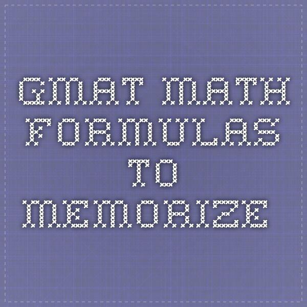 GMAT Math formulas to memorize