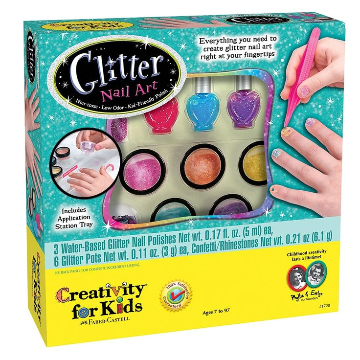 Super-sparkle manicures are right at your fingertips. Includes unique glitter application station that minimizes the mess and maximizes the fun! Complete set includes 6 pots of glitter, rhinestones, sparkling nail file, 3 bottles of real glitter polish, tweezers, manicure storage bag and application station.