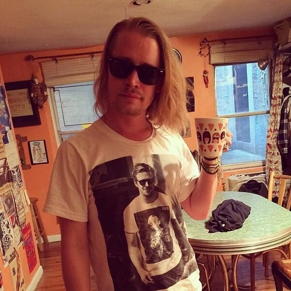Just Macaulay Culkin Wearing A T-Shirt Of Ryan Gosling Wearing A T-Shirt Of Macaulay Culkin.