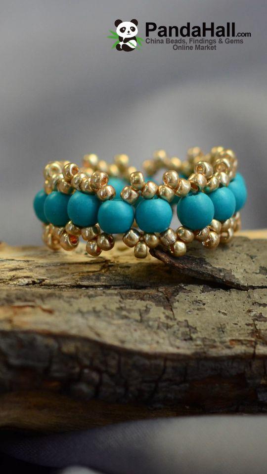 #Pandahall Fashion Green Beads Ring