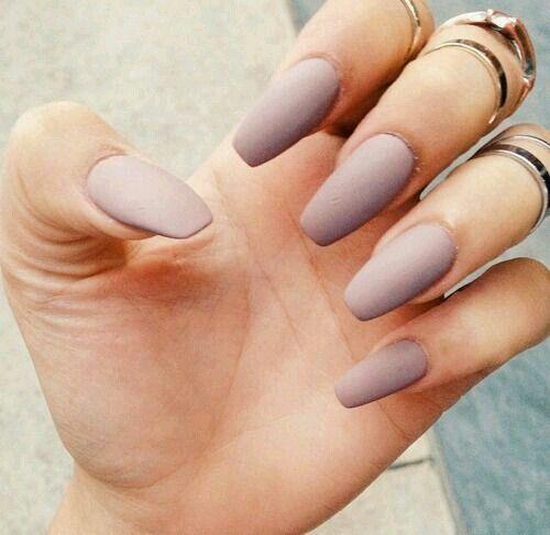 beige matte nails . nail crush