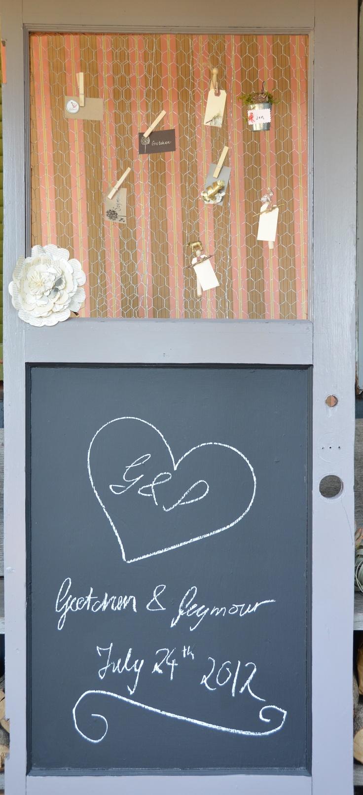 Old door, fresh paint & cute ideas for escort cards!