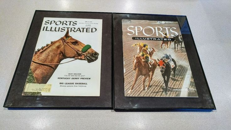 FRAMED 1955 SANTA ANITA & 1958 HORSE RACING COVERS SPORTS ILLUSTRATED MAGAZINES