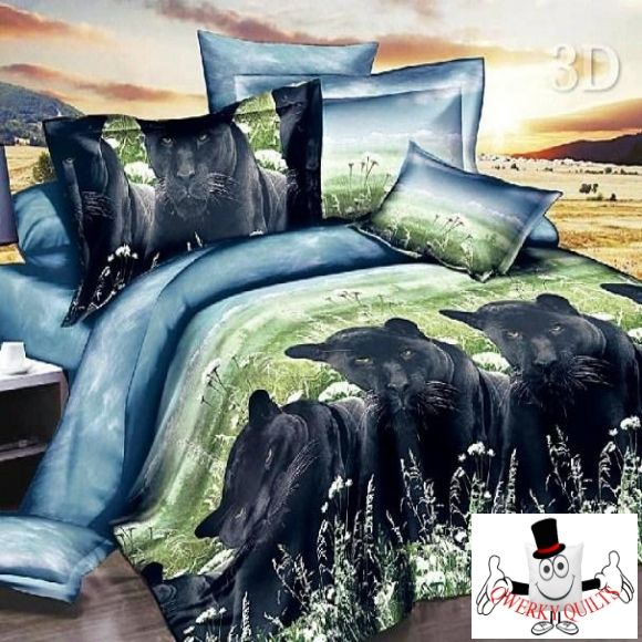 3D Animal Designs  Panthers, Leopards,  Lions, Tigers even a Zebra  http://www.qwerkyquilts.com/collections/animal-quilt-cover-designs
