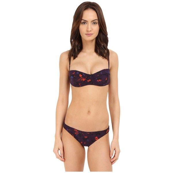 Proenza Schouler Demi Underwire Bra Classic Bottom (Aubergine) Women's... ($345) ❤ liked on Polyvore featuring swimwear, bikinis, floral two piece, bandeau bikini top, low rise bikini, multi color bikini and multicolor bikini