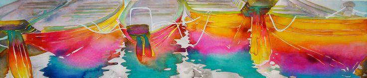 "Thai Boats watercolor 10"" x 40"" 2014"