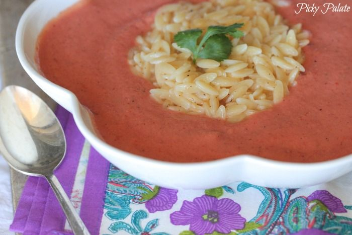 Skinny Tomato Soup with Cheesy Orzo (vegetarian)