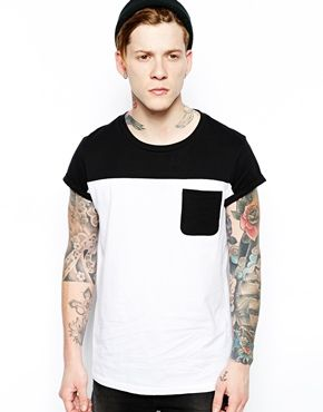 ASOS T-Shirt With Contrast Yoke And Pocket