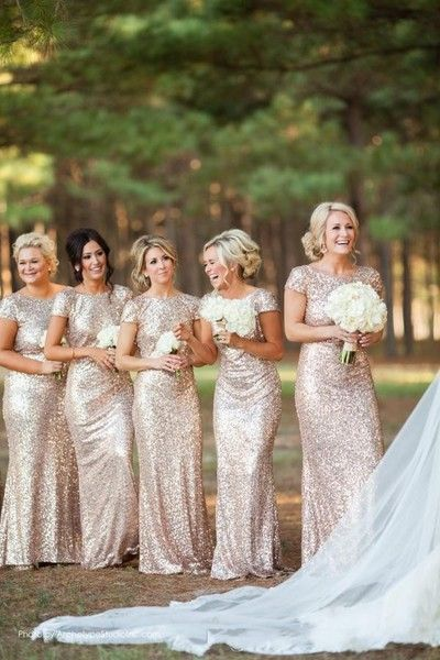 Gold Sequin bridesmaid dress,High Neck bridesmaid dress,Short Sleeves bridesmaid dress,Open Back bridesmaid dress,Long Bridesmaid Dresses,BDS00089