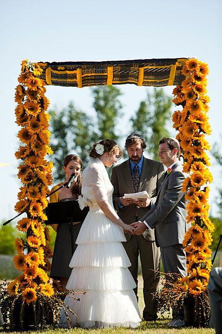 Sunflower wedding arbor