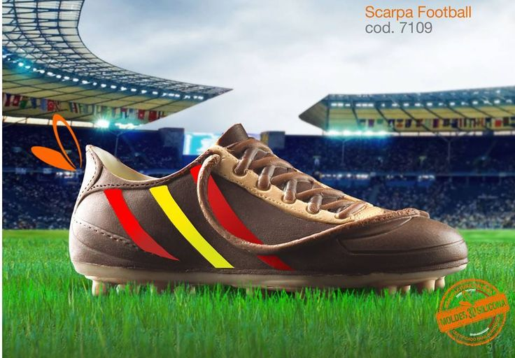 scarpa in cioccolato realizzata con gli stampi in silicone alimentare decosil #calcio  #spain