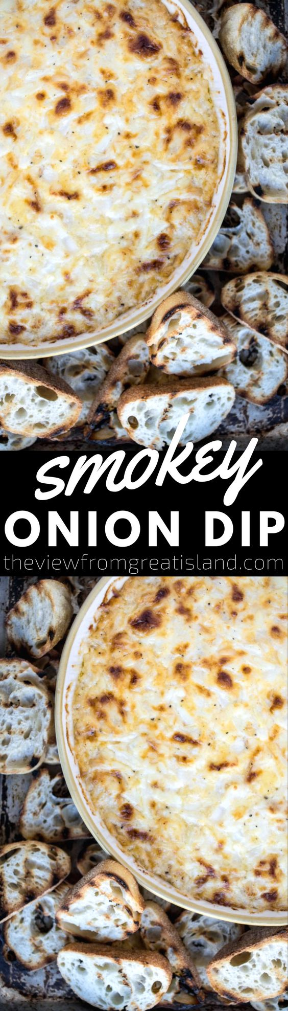 Smokey Onion Dip ~ this creamy, cheesy baked onion dip has a hint of smokey flavor which makes it stand out from the rest! #appetizer #oniondip #hotdip #bakedoniondip #oniondiprecipe #vidaliaonion #mauionion #sweetonions #cheesedip #hotcheesedip #bestoniondip #party #entertaining