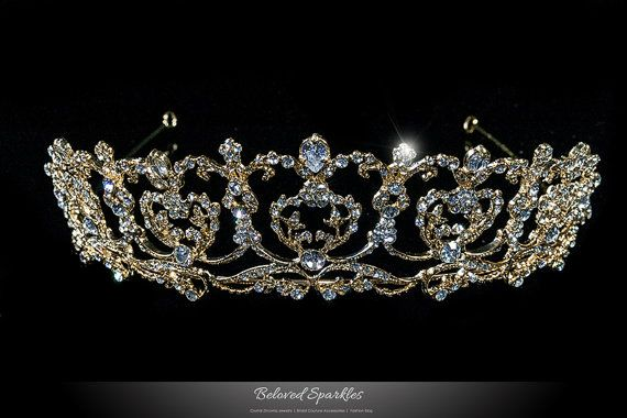 Bridal Tiara Gold Crystal Tiara Vintage by BelovedSparkles on Etsy