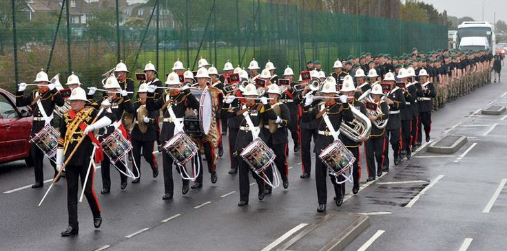 The Royal Marines band marched in front of the runners as they set off from the Royal Marines Museum