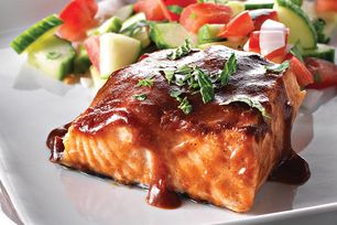Grilled salmon anyone?  A maple-balsamic marinade and a cedar plank go a long way to impart glorious flavour into a great grilled salmon dish.