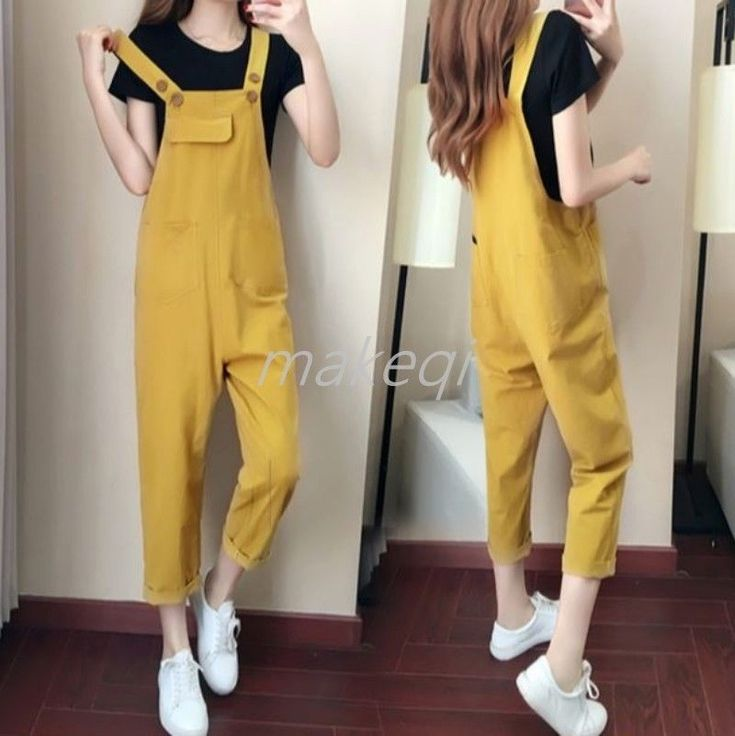 Korean Womens Suspender Pants Trousers Harem Joker Plus Size Overall Fashion