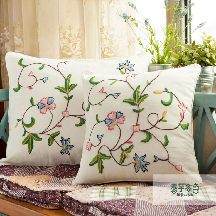 Lu Embroidery Rustic Kaozhen Fluid Large Sofa Cushion Cover Handmade  Embroidery Embroidered Fabric Pillow Cover
