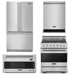 Package V3  - Viking Appliance Package - 4 Piece Luxury Appliance Package - Stainless Steel - Electric