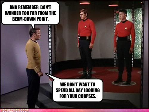 Poor red shirt guys...but fair enough, I'm sure they have a busy schedule to keep.