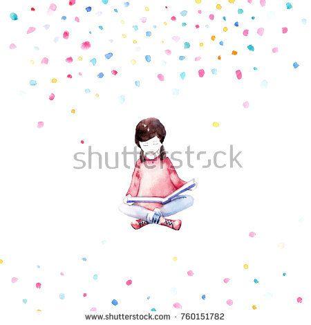 Cute girl - illustration.  @knyshksenya  #illustration #illustrator #ksenyaknysh #watercolor #girl #book #hobby #reading #nature #illustration #art #mothersday #valentine #woman #drawing #dream