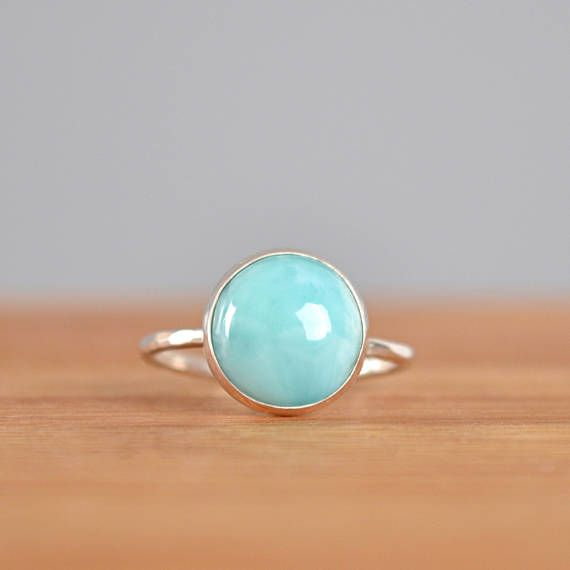 Natural Larimar Ring Round Solitaire Ring Dominican Larimar