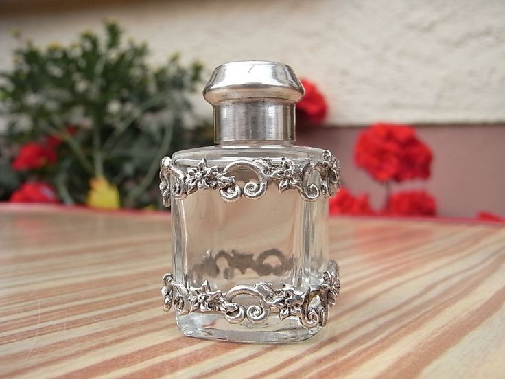 Kl. Parfum Flacon Glas 925 Sterling Silber Verschluss Deckel Applikation Flasche | Antiquitäten & Kunst, Silber, Silber, 800er- 925er | eBay!