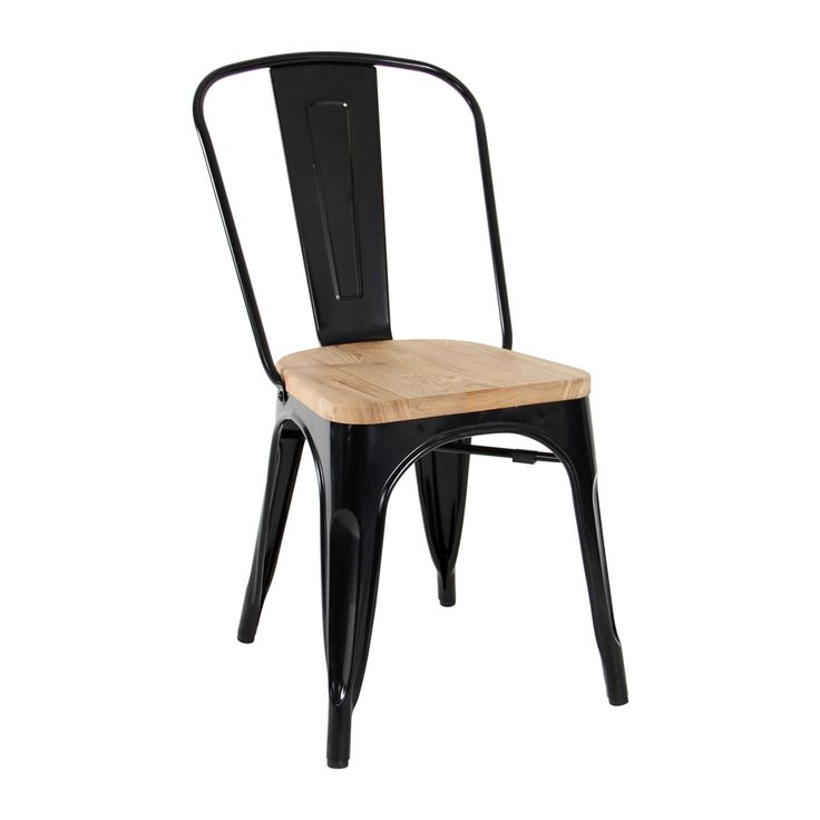 Tolix Chair in black with timber seat Suitable for indoor only Gloss finish