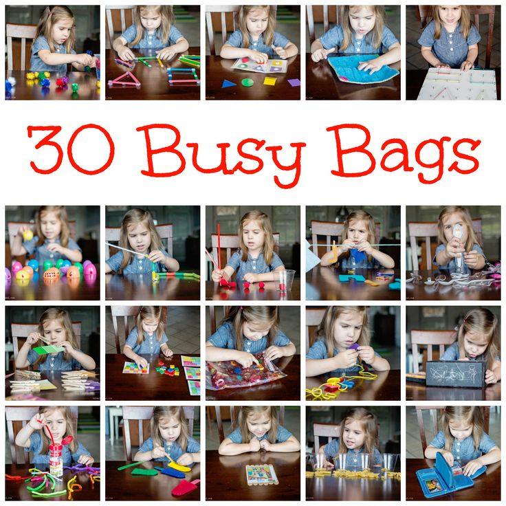 30 busy bags---Some of these are so clever.  I especially like the paint chip idea.  I want to do a busy bag swap like she describes!  :)