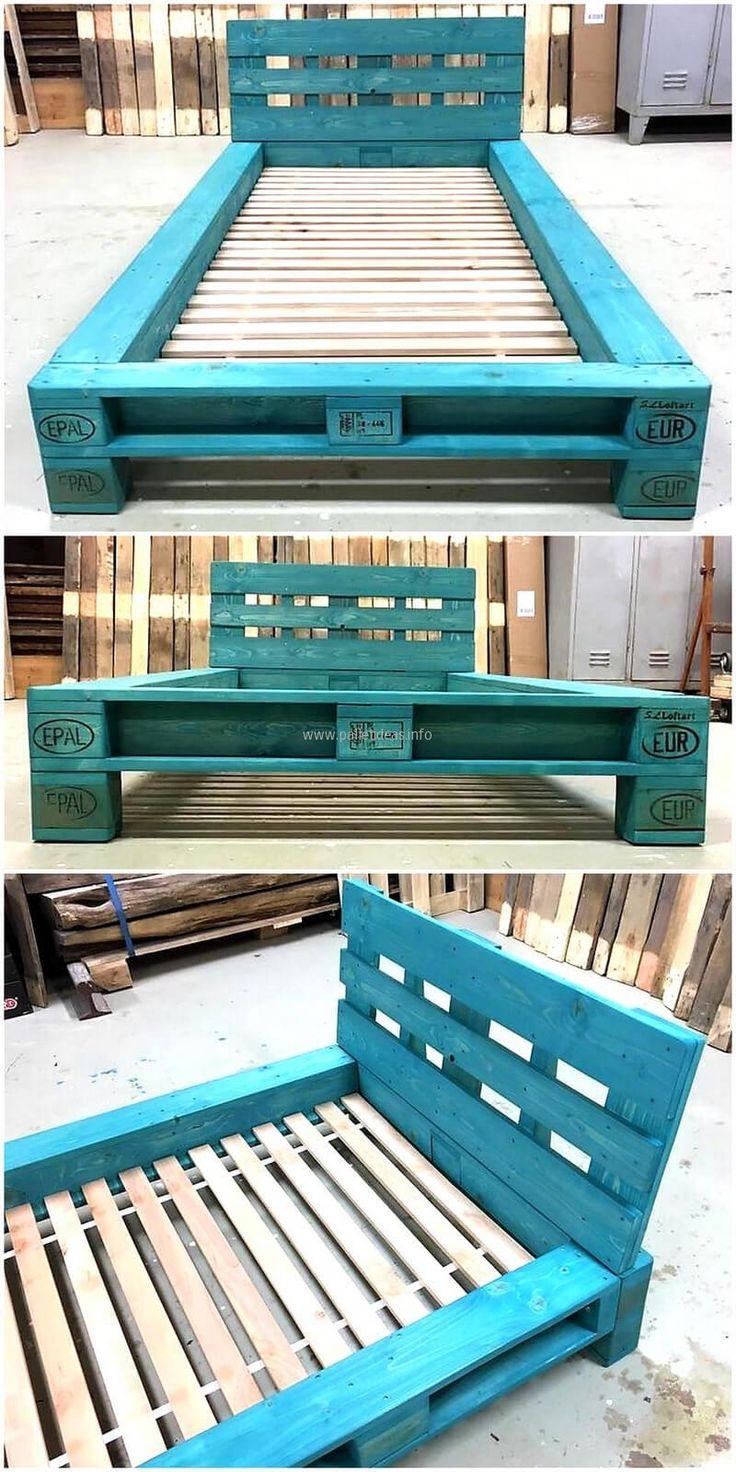 If someone is looking for an idea to create a single bed for the room, then here it is. The headboard and the border of the bed frame is painted blue, while the remaining frame is not painted and the pallets are left without the paint because it is a space which will be covered with the mattress.