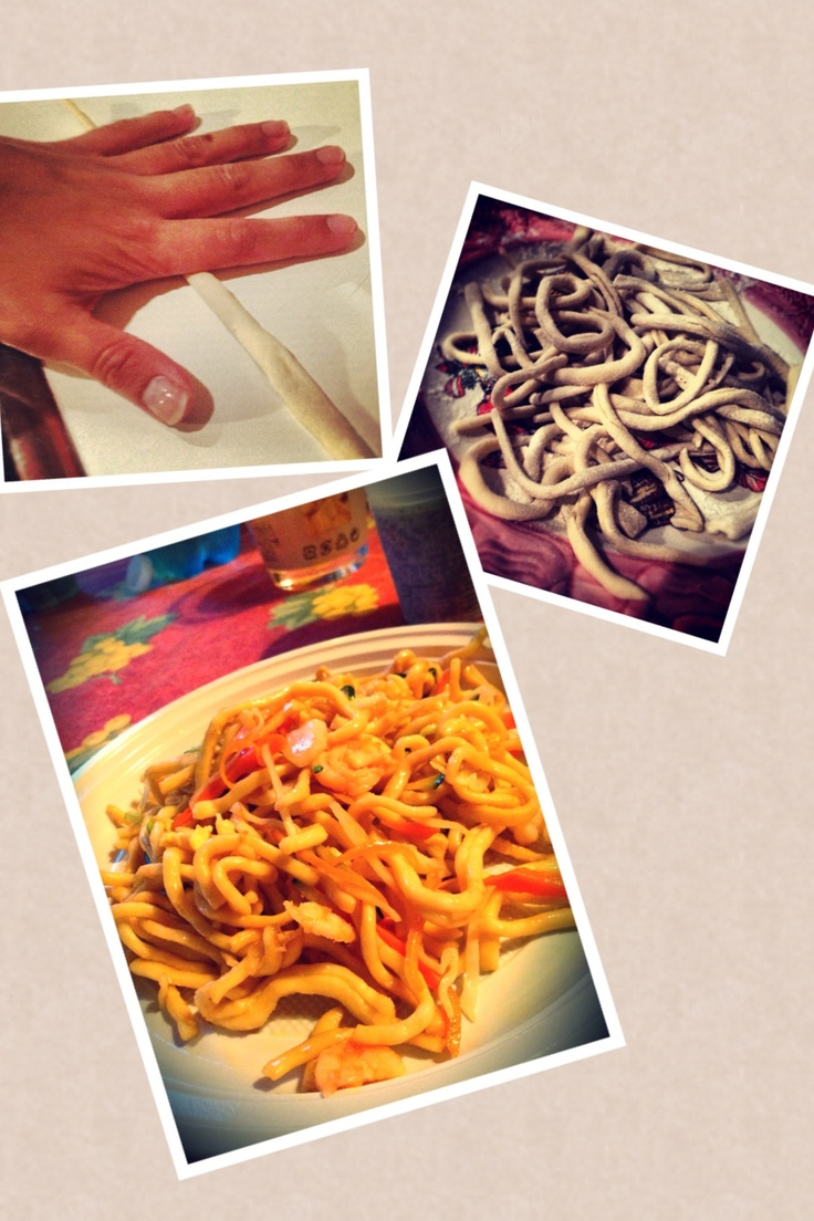 Homemade chinese noodles with vegetables and shrimps