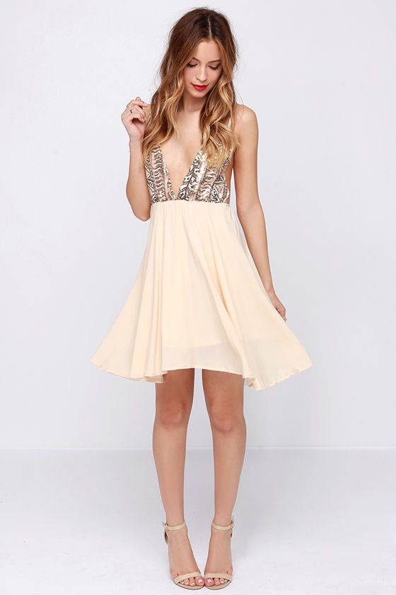 Cream coloured cocktail dress