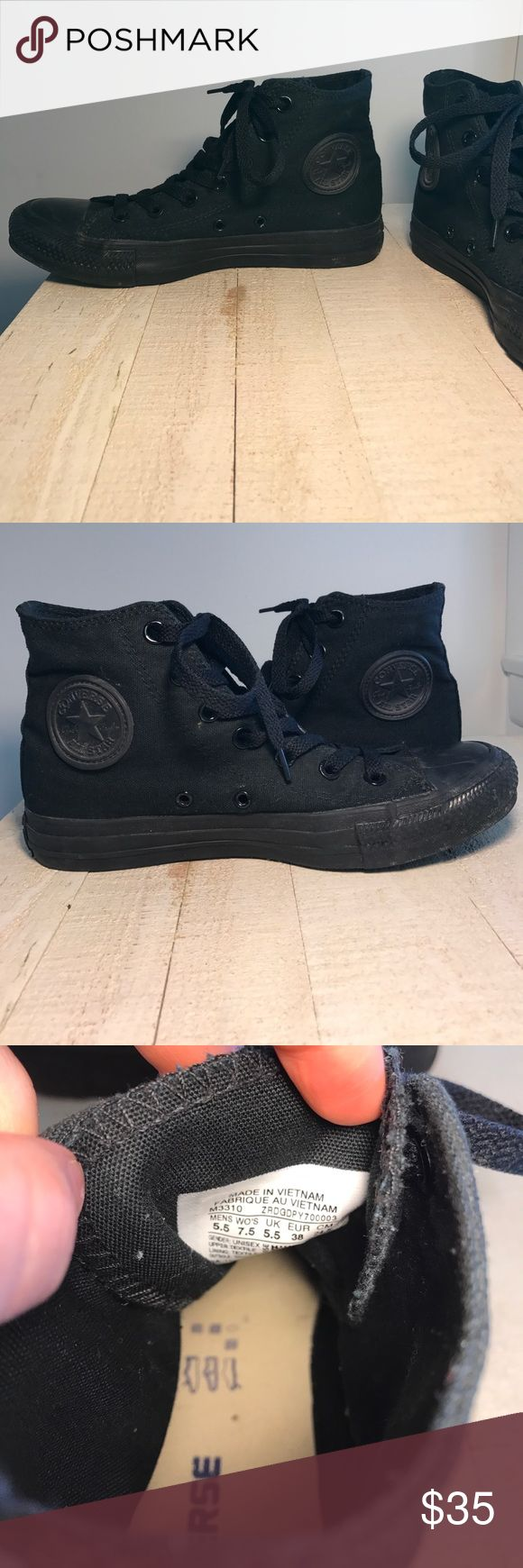All black high top converse High top all black lace up converse Converse Shoes Sneakers