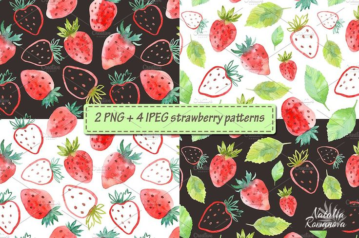 Strawberry watercolor design  by Natali_art on @creativemarket