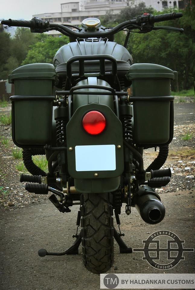 Modified Royal Enfield Bullet In Military Green Paint