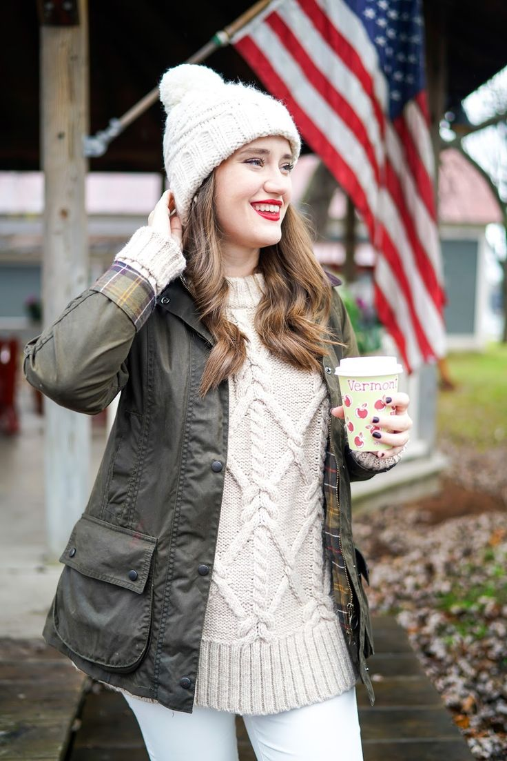barbour beadnell cotton wax jacket new England prep white jeans llbean ll bean boots duck boots cable knit sweater cable knit beanie apple picking what to wear vermont cold cider mill fall preppy look covering the bases fall fashion 2017 fall fashion outfits 2017 pinterest cute fall fashion outfits tumblr fall fashion 2017