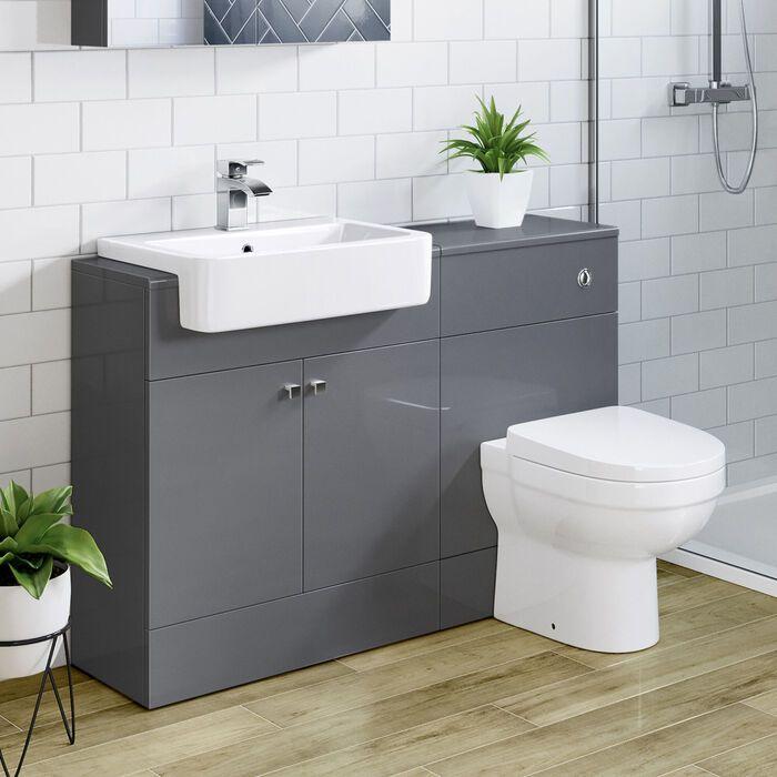 Small Grey Combined Toilet Sink Unit Grey Bathroom Unit Soak Com Toilet And Sink Unit Sink Vanity Unit Vanity Units