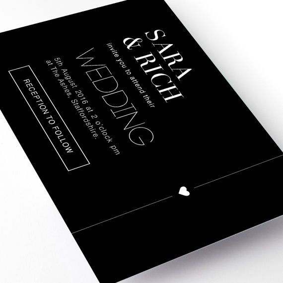 Black Modern Wedding Invitations. Super stylish and ultra contemporary