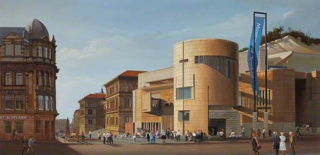 A View from Candlemaker Row towards the Museum of Scotland- CARL Laubin-1997 Oil on canvas, 59 x 120.5 cm Collection: National Museums Scotland