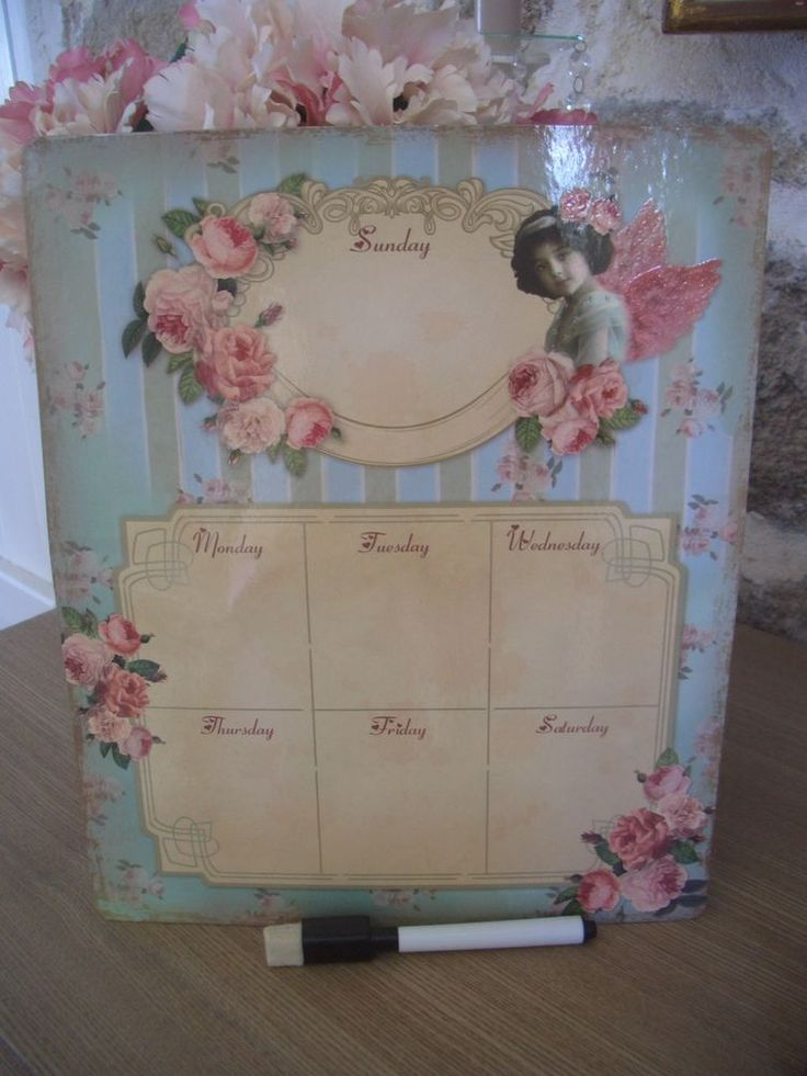 mémo aimanté tableau semainier shabby chic ange & fleurs roses 23x28cm + feutre