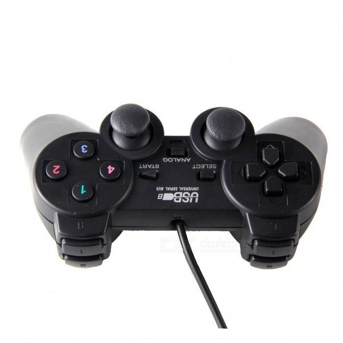 Dual Shock USB Vibrating Joypad Gamepad w/ 1.2M Cable for PC - Black - Free Shipping - DealExtreme
