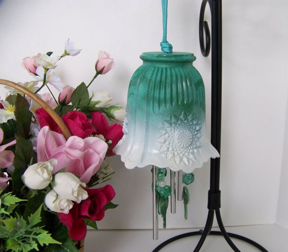 SOLD-Green Light Shade Windchime Glass Globe Wind by handcreated4u