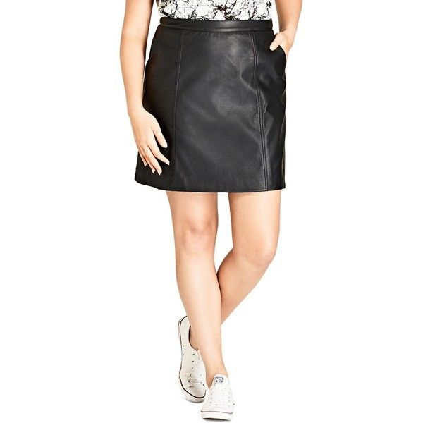 City Chic Faux Leather Mini Skirt (3,665 PHP) ❤ liked on Polyvore featuring skirts, mini skirts, black, faux leather skirt, leather look mini skirt, short skirts, leather look skirt and vegan leather mini skirt