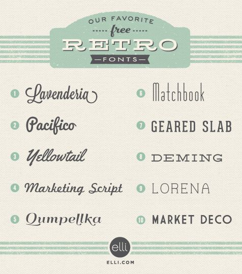 Fonts - free retro fonts to use for your Pinterest posts, photos, blog articles, presentations and printables to enhance your visual content marketing #fonts #freefonts