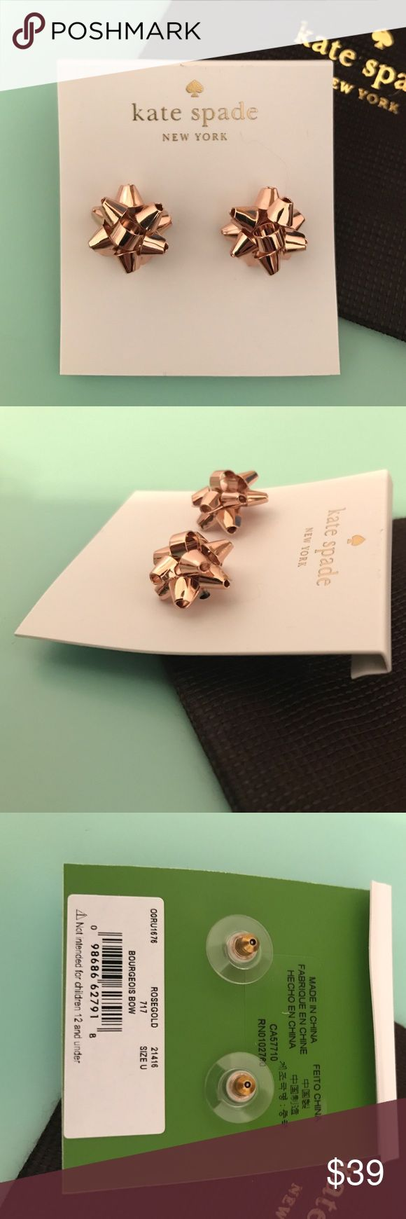 """✨Kate Spade ✨Rose Gold Bourgeois Bow Earrings Lovely NWT ✨Kate Spade ✨ROSEGOLD Bourgeois Bow Earrings. Hard to find """"Bourgeois"""" collection.  Perfect for the holidays! Comes with Kate Spade Jewelry Bag. New with tags. Price firm. kate spade Jewelry Earrings"""