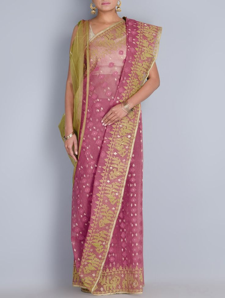 Buy Magenta Lime Cotton Zari Dhakai Jamdani Saree Sarees Woven Wondrous in Online at Jaypore.com