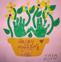 Handprint and Footprint Arts Crafts: Handprint Flowerpot for Mother's Day