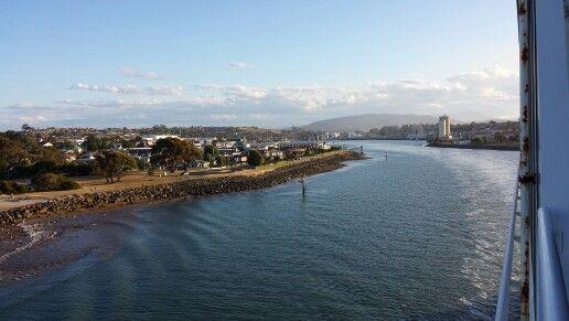 Looking back on Devonport from Spirit of Tasmania
