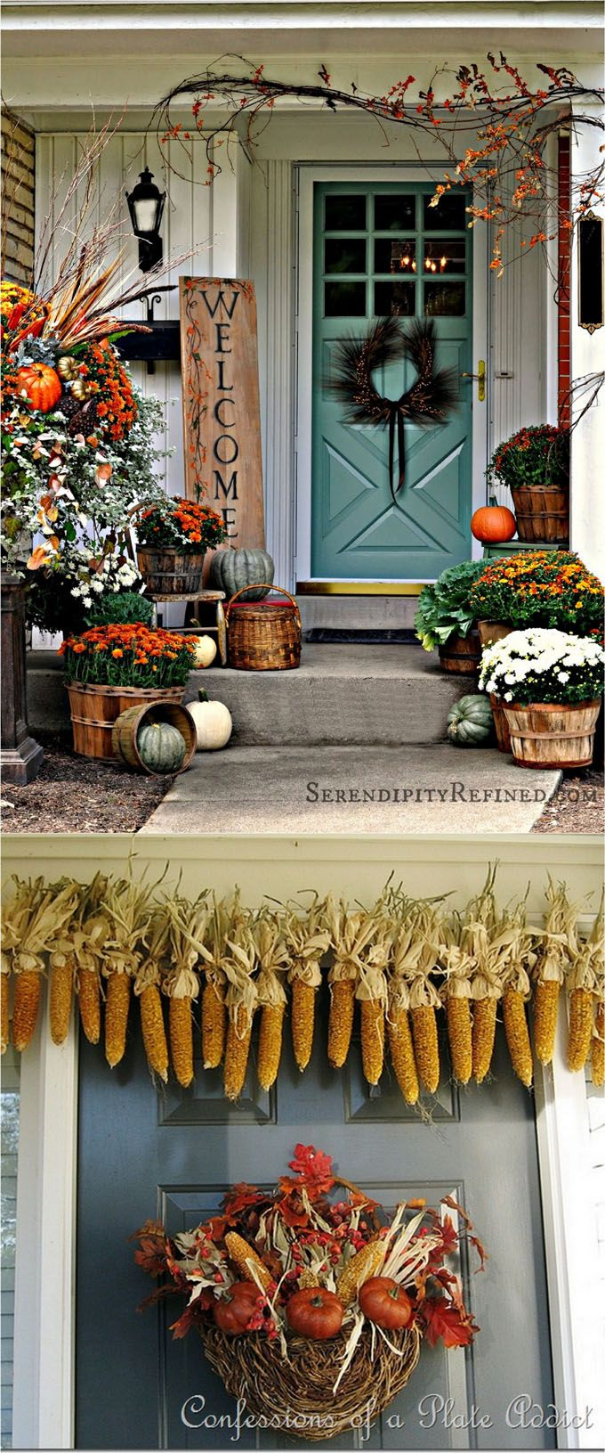 25 splendid DIY fall decorations for your front door and porch: from pumpkin house numbers, corn garlands, colorful planters to harvest displays and more! - A Piece Of Rainbow