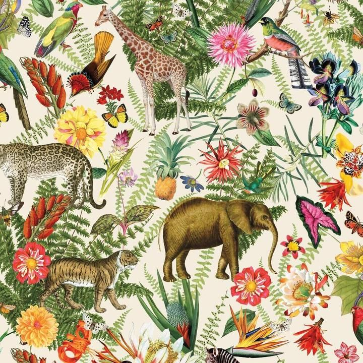 Tropical Zoo Peel And Stick Wallpaper In 2021 Peel And Stick Wallpaper Wallpaper Animal Wallpaper